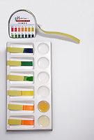 INDICATOR STRIPS TEST pH  OF COMMON SUBSTANCES.Paper Is Treated With pH Indicators..Each strip is immersed in a household substance & compared to the standard color chart.  Here a range of 2-11 is shown.  Lemon juice shows a pH of 2, cider vinegar 3-4, distilled water 6, calgon 8, baking soda 9 & ammonia 11.
