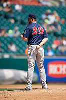 Pawtucket Red Sox relief pitcher Josh A. Smith (39) looks in for the sign during a game against the Buffalo Bisons on June 28, 2018 at Coca-Cola Field in Buffalo, New York.  Buffalo defeated Pawtucket 8-1.  (Mike Janes/Four Seam Images)