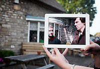 Pictured: Filming of Sherlock at the Bush Inn, South Wales, with Benedict Cumberbatch and Martin Freeman<br />