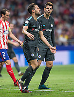 Chelsea´s forward Alvaro Morata and Cesc Fabregas lamenting during the UEFA Champions League group C match between Atletico Madrid and Chelsea played at the Wanda Metropolitano Stadium in Madrid, on September 27th 2017.