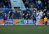 24th March 2018, McDiarmid Park, Perth, Scotland; Scottish Football Challenge Cup Final, Dumbarton versus Inverness Caledonian Thistle; Dumbarton goalkeeper Scott Gallacher saves the penalty from Iain Vigurs of Inverness Caledonian Thistle