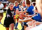 Clark, Hannah_W1_0661<br /> <br /> BYU Goalkeeper Hannah Clark (11) is introduced before the game. The game between BYU and Ohio State ended in a scoreless draw at South Field on August 21, 2017.<br /> <br /> 17wSOC vs Ohio State<br /> <br /> August 21, 2017<br /> <br /> Photo by Jaren Wilkey/BYU<br /> <br /> © BYU PHOTO 2017<br /> All Rights Reserved<br /> photo@byu.edu  (801)422-7322
