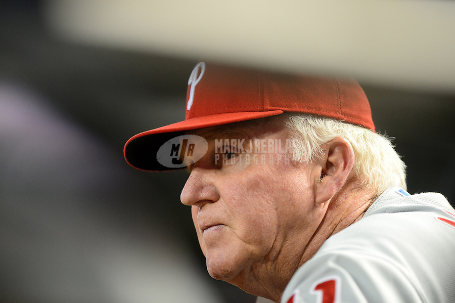 Apr. 25, 2012; Phoenix, AZ, USA; Philadelphia Phillies manager Charlie Manuel in the dugout against the Arizona Diamondbacks at Chase Field. Mandatory Credit: Mark J. Rebilas-