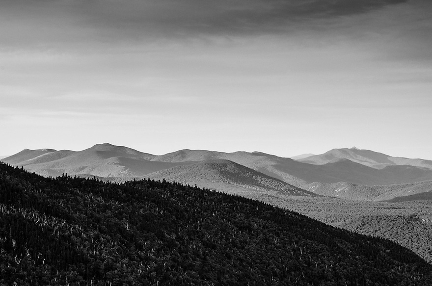 The view south, early on a spring morning in New Hampshire's White Mountains.