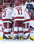 The Crimson celebrate Kyle Criscuolo's (Harvard - 11) goal tied the game at 1 in the first period. - The Harvard University Crimson defeated the Dartmouth College Big Green 5-2 to sweep their weekend series on Sunday, November 1, 2015, at Bright-Landry Hockey Center in Boston, Massachusetts. -