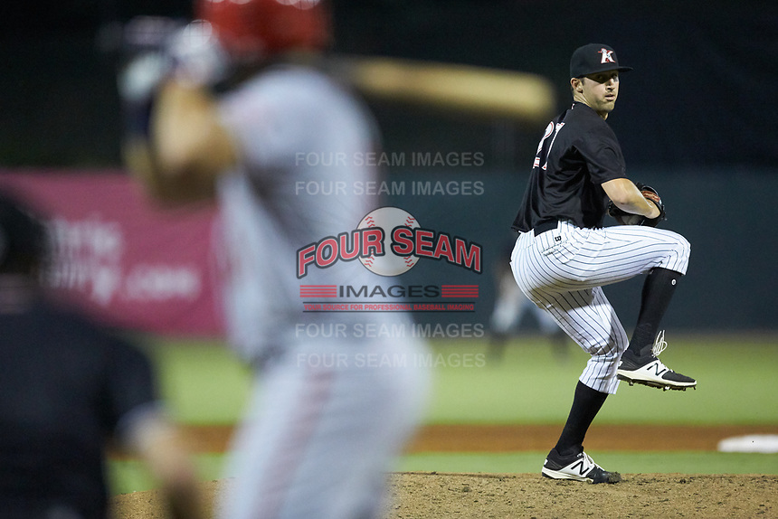 Kannapolis Intimidators relief pitcher Bennett Sousa (27) in action against the Hagerstown Suns at Kannapolis Intimidators Stadium on July 16, 2018 in Kannapolis, North Carolina. The Intimidators defeated the Suns 7-6. (Brian Westerholt/Four Seam Images)