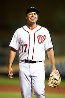 Salt River Rafters third baseman Anthony Rendon #17, of the Washington Nationals organization, during an Arizona Fall League game against the Peoria Javelinas at the Salt River Fields at Talking Stick on October 18, 2012 in Scottsdale, Arizona.  Peoria defeated Salt River 3-1.  (Mike Janes/Four Seam Images via AP Images)