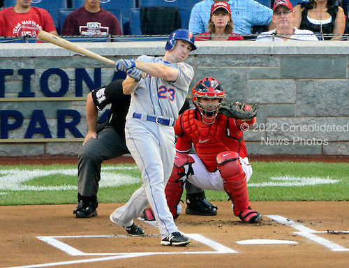 New York Mets right fielder Mike Baxter (23) triples in the first inning against the Washington Nationals at Nationals Park in Washington, D.C. on Saturday, August 18, 2012.  Baxter was left stranded at third..Credit: Ron Sachs / CNP.(RESTRICTION: NO New York or New Jersey Newspapers or newspapers within a 75 mile radius of New York City)