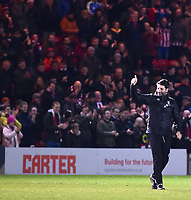 Lincoln City manager Danny Cowley applauds the fans at the final whistle<br /> <br /> Photographer Andrew Vaughan/CameraSport<br /> <br /> The Emirates FA Cup Second Round - Lincoln City v Carlisle United - Saturday 1st December 2018 - Sincil Bank - Lincoln<br />  <br /> World Copyright © 2018 CameraSport. All rights reserved. 43 Linden Ave. Countesthorpe. Leicester. England. LE8 5PG - Tel: +44 (0) 116 277 4147 - admin@camerasport.com - www.camerasport.com