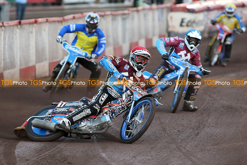 Heat 1: Davey Watt (red) in front of Kauko Nieminen (blue), Lukas Dryml (yellow) and Morten Risager - Lakeside Hammers vs Eastbourne Eagles - Sky Sports Elite League Speedway at Arena Essex Raceway, Purfleet - 17/08/12 - MANDATORY CREDIT: Gavin Ellis/TGSPHOTO - Self billing applies where appropriate - 0845 094 6026 - contact@tgsphoto.co.uk - NO UNPAID USE.