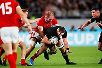 1st November 2019, Tokyo, Japan;  Alun Wyn Jones (WAL) tackles Kieran Read (NZL);  2019 Rugby World Cup 3rd place match between New Zealand 40-17 Wales at Tokyo Stadium in Tokyo, Japan.  - Editorial Use