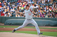 Albuquerque Isotopes starting pitcher Jon Gray (55) delivers a pitch to the plate against the Salt Lake Bees in Pacific Coast League action at Smith's Ballpark on June 27, 2015 in Salt Lake City, Utah. The Bees defeated the Isotopes 8-6. (Stephen Smith/Four Seam Images)
