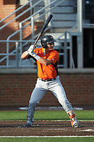 Daniel Fajardo (16) of the Frederick Keys at bat against the Buies Creek Astros at Jim Perry Stadium on April 28, 2018 in Buies Creek, North Carolina. The Astros defeated the Keys 9-4.  (Brian Westerholt/Four Seam Images)