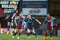 Harry Davis of Crewe A heads clear<br />  - Scunthorpe United vs Crewe Alexandra - Sky Bet League One Football at Glanford Park, Scunthorpe, Lincolnshire - 13/12/14 - MANDATORY CREDIT: Mark Hodsman/TGSPHOTO - Self billing applies where appropriate - contact@tgsphoto.co.uk - NO UNPAID USE