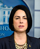 Assistant Director Barbara M. Gonzalez, United States Immigration and Customs Enforcement, makes remarks as acting Director, US Immigration and Customs Enforcement (ICE) Matthew Albence briefs reporters in the Brady Briefing Room of the White House in Washington, DC on Thursday, October 10, 2019.<br /> Credit: Ron Sachs / CNP