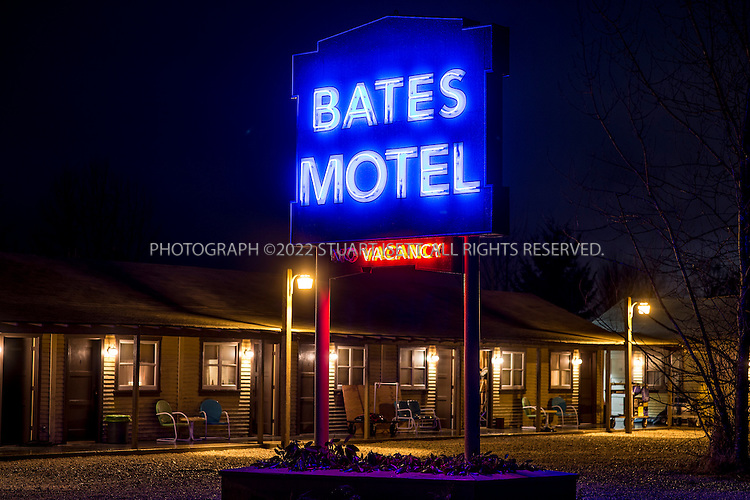 "1/28/2013--Aldergrove, British Columbia, Canada..The set of ""Bates Motel"", an upcoming television series on A&E. The series is inspired by Alfred Hitchcock's Psycho, and will depict the life of Norman Bates (played by Freddie Highmore) and his mother Norma (played by Vera Farmiga) prior to the events portrayed in Hitchcock's film. A&E chose to skip a pilot of the series, and ordered a 10-episode first season. The series was filmed in Aldergrove, British Columbia, close to the US border and near Vancouver. It's scheduled to debut in March.....©2013 Stuart Isett. All rights reserved."