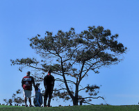 28 JAN 13  Tiger Woods and Joey LaCava with a Torrey Pine during Monday's Final round of The Farmers Insurance Open at The Torrey Pines Golf Course in La Jolla, California.(photo:  kenneth e.dennis / kendennisphoto.com)
