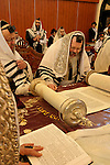 Israel, Bnei Brak. The Synagogue of the Premishlan congregation on Purim holiday. The Rabbi is reading the Torah, 2005<br />