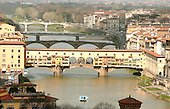 Florence, Italy - March 29, 2006 -- Ponte Vecchio Bridge over the Arno River in Florence, Italy on Wednesday, March 29, 2006..The bridge, which dates from 1345 is the oldest surviving bridge in the city.  It houses antique and specialized jewelry shops..Credit: Ron Sachs / CNP