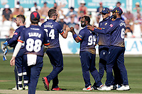 Ashar Zaidi of Essex celebrates with his team mates after taking the wicket of Ollie Pope during Essex Eagles vs Surrey, Vitality Blast T20 Cricket at The Cloudfm County Ground on 5th August 2018
