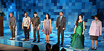 """Tom Aulino, Ugo Chukwu, Justin Long, Tiffany Villarin, Greg Keller, Megan Hill and Jeanne Sakata during the Opening Night Curtain Call for The Vineyard Theatre production of  """"Do You Feel Anger?"""" at the Vineyard Theatreon April 2, 2019 in New York City."""