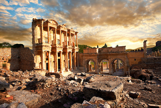 Picture of The library of Celsusat sunrise . Images of the Roman ruins of Ephasus, Turkey. Stock Picture & Photo art prints 2