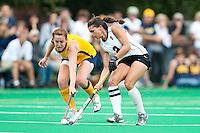 STANFORD, CA - SEPTEMBER 19: Camille Ghandi battles against Cal on the Stanford Varsity Field Hockey turf, September 19, 2010 in Stanford, California.