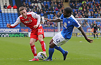 Fleetwood Town's Ashley Hunter is tackled by Peterborough United's Anthony Grant<br /> <br /> Photographer David Shipman/CameraSport<br /> <br /> The EFL Sky Bet League One - Peterborough United v Fleetwood Town - Friday 14th April 2016 - ABAX Stadium  - Peterborough<br /> <br /> World Copyright &copy; 2017 CameraSport. All rights reserved. 43 Linden Ave. Countesthorpe. Leicester. England. LE8 5PG - Tel: +44 (0) 116 277 4147 - admin@camerasport.com - www.camerasport.com