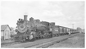 3/4 fireman side view of K-37 #494 on special from Salida arriving at Gunnison.<br /> D&amp;RGW  Gunnison, CO  9/19/1948