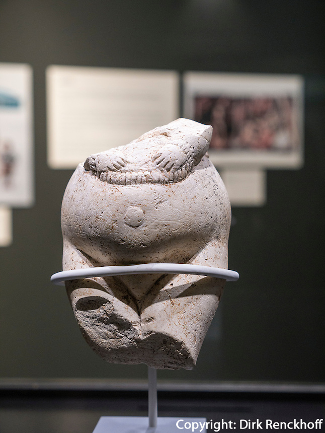 Frauenstatuettte aus Kostenki 25.000 Jahre alt, Kalkstein, Leihgabe Kunstkammer St. Petersburg im Helms-Museum = Arch&auml;ologisches Museum Hamburg, Deutschland, Europa<br /> Female figurine from Kostenki, 25.000 b.C, limestone, loan of St. Petersburg, Helms-Museum = Archaeological  Museum Hamburg, Germany Europe