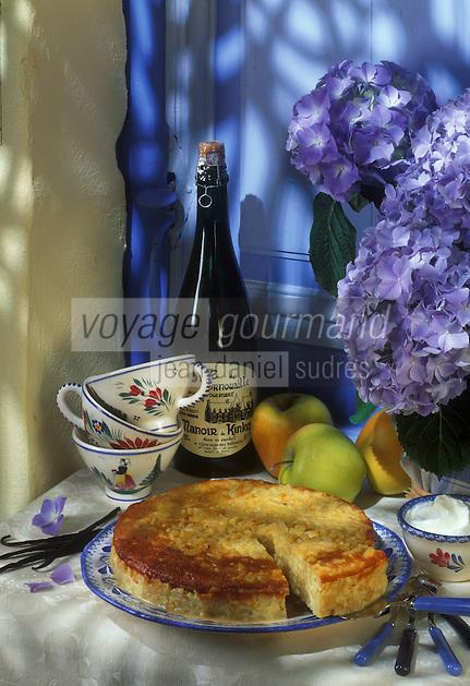 """Europe/France/Bretagne/29/Finistère/Quimper : Gâteau aux pommes à la foues nataise - Recette de G. Guyon du restaurant """"l'Ambroisie"""" - Photo prise au château de Guilguiffin"""