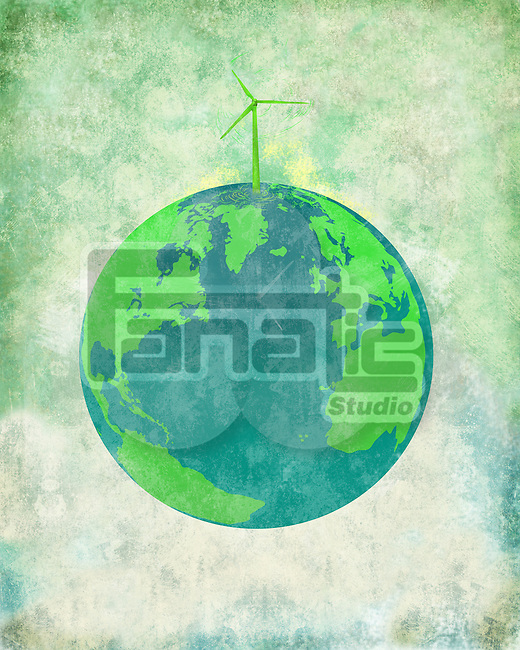 Illustrative image of wind turbine on earth representing go green concept