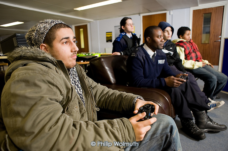 PlayStation 3 competition at the Millenium Centre Youth Club, Amberley Estate, Paddington, supported by the local police Safer Neighbourhoods Team.