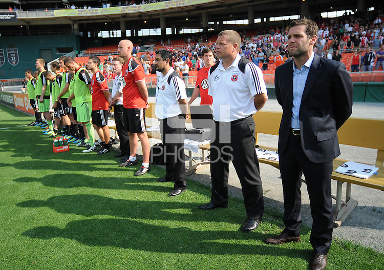 DC United Head Coach Ben Olsen with Assistant Head Coach Chad Ashton and bench at the kick off.   AFC Ajax defeated DC United 2-1 during an International Friendly at RFK Stadium Sunday May 22, 2011.