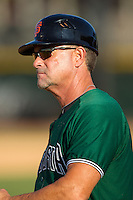 Augusta GreenJackets manager Mike Goff (9) coaches third base during the game against the Hickory Crawdads at L.P. Frans Stadium on May 11, 2014 in Hickory, North Carolina.  The GreenJackets defeated the Crawdads 9-4.  (Brian Westerholt/Four Seam Images)