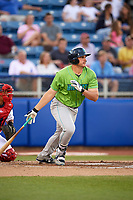 Lynchburg Hillcats designated hitter Anthony Miller (40) follows through on a swing during a game against the Salem Red Sox on May 10, 2018 at Haley Toyota Field in Salem, Virginia.  Lynchburg defeated Salem 11-5.  (Mike Janes/Four Seam Images)