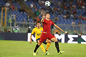12th September 2017, Stadio Olimpic, Rome, Italy; UEFA Champions League between AS Roma versus Club Atletico de Madrid  Edin Dzeko under pressure from Savic ; the game ended on a 0-0 draw