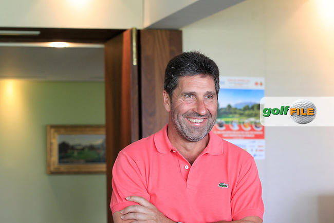Jose Maria Olazabal (ESP) makes a visit to the Media Centre during Round 1 of the Open de Espana  in Club de Golf el Prat, Barcelona on Thursday 14th May 2015.<br /> Picture:  Thos Caffrey / www.golffile.ie