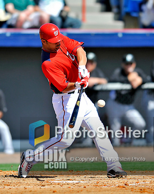 2 March 2011: Washington Nationals catcher Jesus Flores in Spring Training action against the Florida Marlins at Space Coast Stadium in Viera, Florida. The Nationals defeated the Marlins 8-4 in Grapefruit League action. Mandatory Credit: Ed Wolfstein Photo
