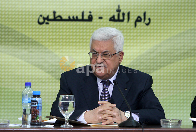 Palestinian President Mahmoud Abbas ( Abu Mazen) during the Revolutionary Council meeting , in the West Bank city of Ramallah on Nov. 24,2010 . Photo by Thaer Ganaim