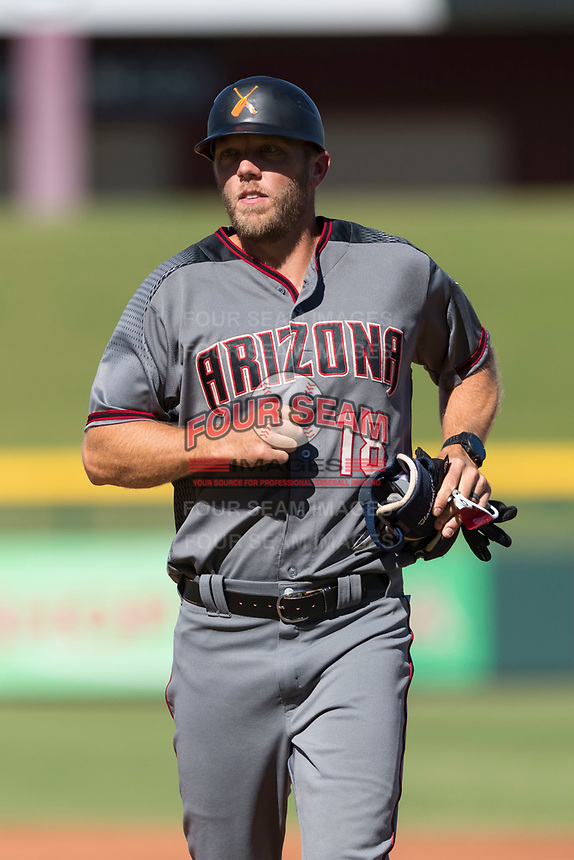Salt River Rafters hitting coach Shelley Duncan (18), of the Arizona Diamondbacks organization, during an Arizona Fall League game against the Mesa Solar Sox at Sloan Park on October 30, 2018 in Mesa, Arizona. Salt River defeated Mesa 14-4 . (Zachary Lucy/Four Seam Images)