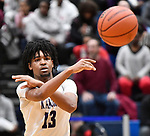 Collinsville guard RaySean Taylor passes. Belleville West played Collinsville in the Class 4A Belleville East regional basketball championship game at Belleville East High School in Belleville, Illinois on Friday March 6, 2020. <br /> Tim Vizer/Special to STLhighschoolsports.com