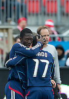 21 April 2012: Chicago Fire forward Patrick Nyarko #14 celebrates his goal with Chicago Fire midfielder Pavel Pardo #17during the second half in a game between the Chicago Fire and Toronto FC at BMO Field in Toronto..The Chicago Fire won 3-2...