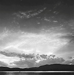 Moosehead Lake, ME. black and white lakescape. 1978