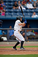 Biloxi Shuckers Bruce Caldwell (1) at bat during a Southern League game against the Montgomery Biscuits on May 8, 2019 at MGM Park in Biloxi, Mississippi.  Biloxi defeated Montgomery 4-2.  (Mike Janes/Four Seam Images)