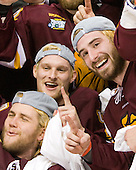 Trent Palm (Duluth - 5), David Grun (Duluth - 27), ? - The University of Minnesota-Duluth Bulldogs celebrated their 2011 D1 National Championship win on Saturday, April 9, 2011, at the Xcel Energy Center in St. Paul, Minnesota.