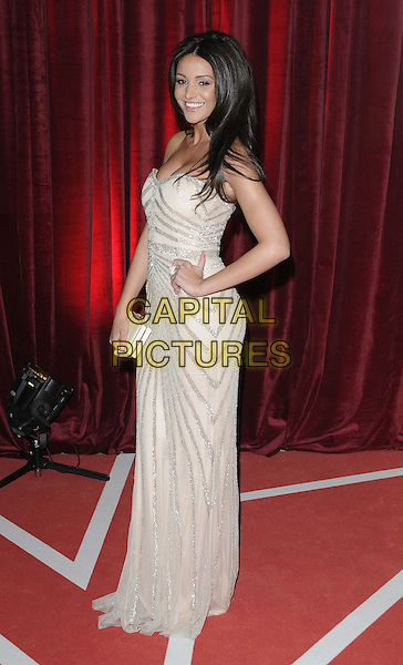 Michelle Keegan.attended the British Soap Awards 2013, Media City, Salford, Manchester, England, UK, 18th May 2013..arrivals full length strapless beige silver dress nude patterned hand on hip side clutch bag smiling sequined sequin sparkly .CAP/CAN.©Can Nguyen/Capital Pictures.