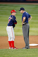 August 1, 2009:  Manager Steve Roadcap of the Reading Phillies argues a call with umpire Cory Hinga during a game at Jerry Uht Park in Erie, PA.  Reading is the Eastern League Double-A affiliate of the Philadelphia Phillies.  Photo By Mike Janes/Four Seam Images