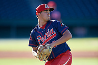 Peoria Chiefs pitcher Edgar Gonzalez (5) warms up before a game against the Bowling Green Hot Rods on September 15, 2018 at Bowling Green Ballpark in Bowling Green, Kentucky.  Bowling Green defeated Peoria 6-1.  (Mike Janes/Four Seam Images)