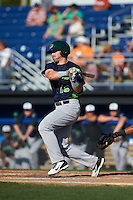 Vermont Lake Monsters first baseman Chris Iriart (18) at bat during a game against the Batavia Muckdogs August 9, 2015 at Dwyer Stadium in Batavia, New York.  Vermont defeated Batavia 11-5.  (Mike Janes/Four Seam Images)